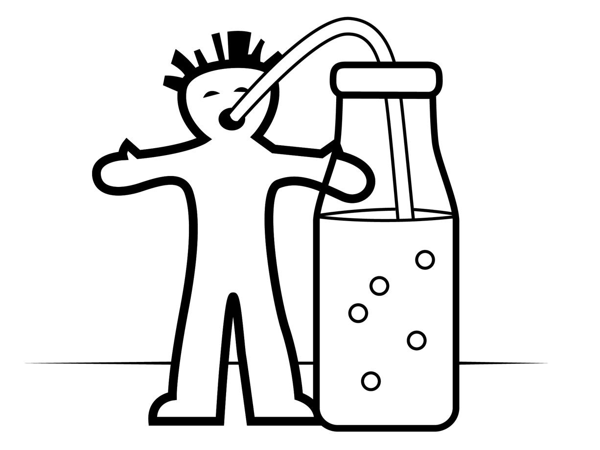 Tik Tak Kleurplaat: Het drinkmannetje
